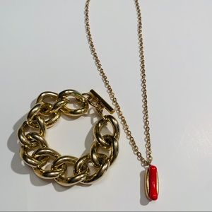 Vintage Avon Hotdog Necklace with Bracelet